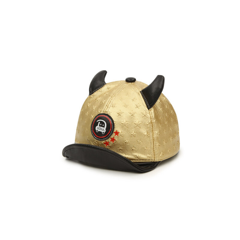 儿童鸭舌帽卡通小皮帽 宝宝牛角帽子男女童翘舌帽童帽