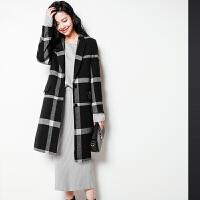 2018流行格子大衣矮个子秋冬潮羊毛女装毛呢外套女中长款韩版反季