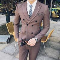 男士西服套装秋季新款商务外套小西装男职业装修身西服结婚礼服男