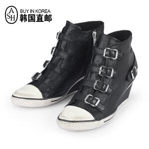 ASH艾熙 意大利GENIAL高帮黑色休闲坡跟女靴 内增高女鞋87461