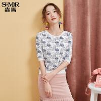森马上衣女秋季女装韩版显瘦圆领体恤印花T恤五分袖学生