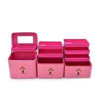 新款化妆箱多层多功能大容量化妆包收纳箱家用手提化妆箱简约大号 老花(单盒-双层)