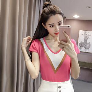 【班图诗妮】2018冰丝针织衫紧身短款针织短袖女T恤修身上衣套头打底衫