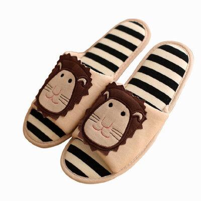 四季托鞋居家用木地板空调卡通男女士棉拖鞋拖鞋棉布麻狮子座 品质保证 售后无忧
