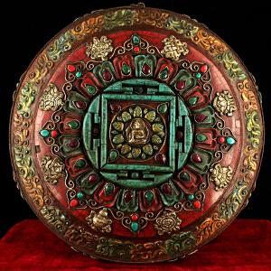 纯铜纯手工打造镶嵌宝石彩绘坛城