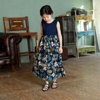 女童裙子夏季2018新款中大童韩版碎花公主长裙过膝儿童度假连衣裙