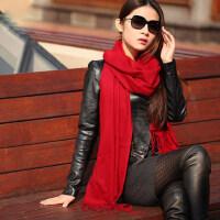 两用加大围巾韩版女士裸色长款流苏羊毛纯色围巾披肩