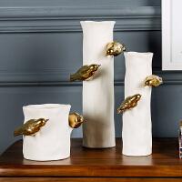 奇居良品 现代家居客厅装饰花插花器 莫瓦尔金色小鸟陶瓷花瓶