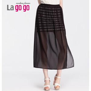 lagogo拉谷谷夏季新款条纹时尚性感百搭双层半裙