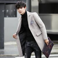 秋冬新款外套男士修身中长款风衣男式韩版上衣毛呢大衣