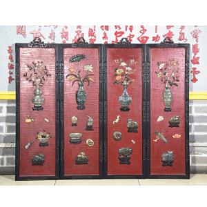 S923民国《岁朝清供四条屏》(红酸枝边框,玉石镶嵌而制,底板刷红色大漆,包浆厚重,保存完整。属实用收藏型。)