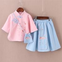 女童古装汉服儿童唐装裙短袖薄款中国风套裙春夏小女孩复古女童装