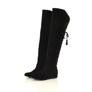 ELEISE美国艾蕾莎新品秋冬181-C86韩版磨砂绒面内增高女士过膝雪地靴