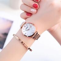 手表女钢带超薄防水时尚款潮流简约玫瑰金女表休闲石英表