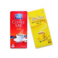 【包邮】咖啡组合 韩国进口 麦馨摩卡咖啡(黄)240g+东西麦斯威尔原味三合一咖啡236g 共两盒