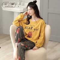 轩之婷 纯棉睡衣女夏季薄款长袖2020新款潮流甜美可爱卡通家居服套装秋天
