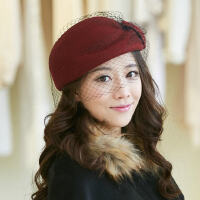 帽子女秋冬时尚贝雷帽羊毛毡帽冬天英伦毛呢帽小礼帽空姐帽