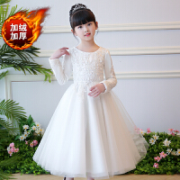 女童�Y服裙秋冬�和�婚�裙加厚公主花童生日�琴演出服�L袖白色 白色(加�q�L袖)