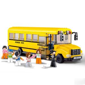 【当当自营】小鲁班模拟城市系列儿童益智拼装积木玩具 大型校园巴士M38-B0506