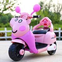 儿童电动摩托车佩奇宝宝三轮车玩具男女小孩电瓶车充电车