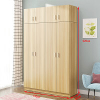 20190809141915251衣柜简约现代经济型组装实木板式租房宿舍简易单人双人家用小柜子 对开4门+顶柜 颜色备