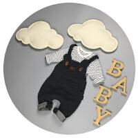 宝宝秋装男新生儿背带裤套装纯棉0-3-6个月婴儿连体裤1-2岁春秋季