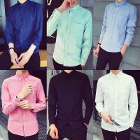 春季色长袖衬衫男士修身打底衫韩版青少年休闲衬衣男寸衫潮