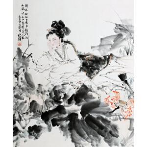 S17    白伯华《荷花人物》(北京文物公司旧藏)