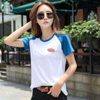 短袖女新款宽松�B恤夏季韩版纯棉半袖t恤中年大码撞色上衣潮