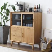北欧餐边柜客厅储物柜子现代简约茶水柜置物橡木日式家具实木边柜 原木色(白橡木) 3门