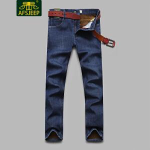 战地吉普(AFS JEEP)2017冬装新款男牛仔裤 加绒加厚保暖直筒宽松休闲男士牛仔长裤LZ358
