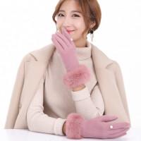 加绒加厚毛线针织保暖可触摸屏羊绒手套女款羊毛兔毛珍珠