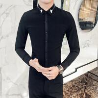 港风衬衫男长袖 青少年春季新款韩版男装 修身型韩国帅气白衬