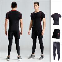 【速干衣裤 速干服】大码健身衣三件套装运动短袖速干T恤健身房训练跑步服套装男夏季