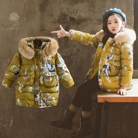 儿童装女童冬装棉衣韩版女孩毛领外套中长款棉袄