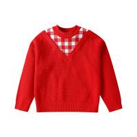 【2件3折到手价:84】小猪班纳童装女童毛衣套头针织衫中大童2020新款洋气假两件上衣棉