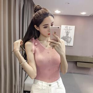 【班图诗妮】2018夏季新款针织背心衫修身纯色短款打底百搭外穿性感上衣