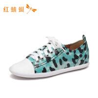 红蜻蜓女鞋新款圆头时尚印花低跟平底运动板鞋休闲鞋女-