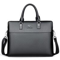 商务男士手提包横款方形电脑包出差包真皮公文包头层牛皮中年包包