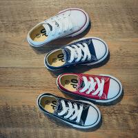 儿童帆布鞋韩版低帮系带男童女童板鞋休闲亲子鞋母女鞋2018春新款