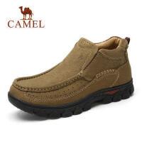 骆驼男鞋 厚底防滑套脚舒适日常休闲鞋 男士户外休闲磨砂牛皮鞋子