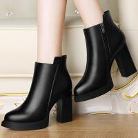莫蕾蔻蕾圆头粗跟短靴高跟鞋鞋防水台单鞋女百搭休闲鞋女潮6D551