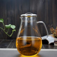 耐热玻璃开水壶家用凉水壶不锈钢盖花茶壶耐热防爆高硼硅玻璃果汁壶冷水壶带不锈钢过滤盖水杯杯子