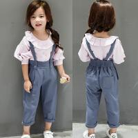 儿童装女童韩版背带裤宝宝衬衫两件套装分开卖2018春装新款A456 O