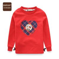 【3件2折到手价:56元】BINPAW儿童长袖T恤秋装新款19卡通爱心绣花全棉毛圈蝴蝶结打底衫
