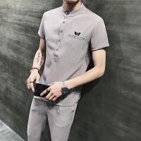 夏季短袖男运动休闲男士套装POLO衫套男装潮流韩版t恤九分裤子