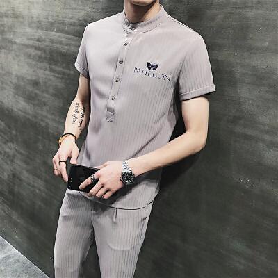 夏季短袖男运动休闲男士套装POLO衫套男装潮流韩版t恤九分裤子 发货周期:一般在付款后2-90天左右发货,具体发货时间请以与客服协商的时间为准