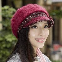 韩版时尚鸭舌兔毛帽 纯色贝雷帽保暖针织毛线帽帽子女