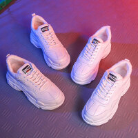 新款韩版百搭学生网红二棉鞋冬季运动女鞋棉鞋女冬加绒老爹鞋