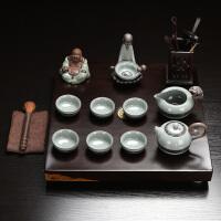 s思故轩 特价茶具茶盘整块黑檀木茶盘 整套陶瓷茶具套装功夫茶具CJT1716